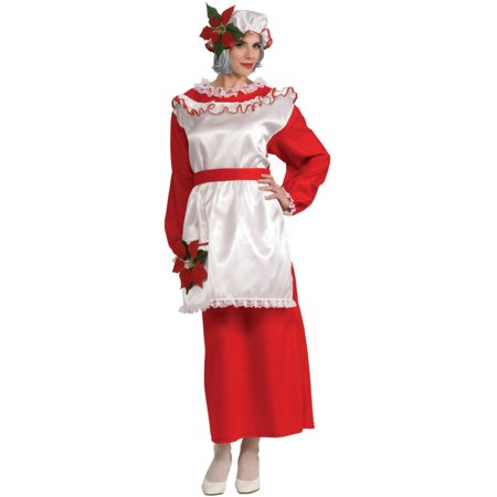 Mrs. Poinsettia Santa's Helper Ms. Claus Adult Costume Dress Size L 14-16