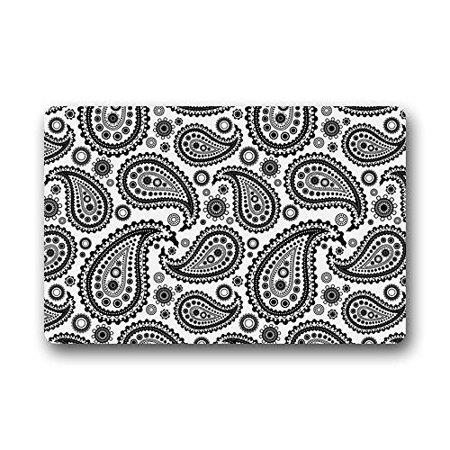 Winhome Black And White Paisley Pattern Doormat Floor Mats