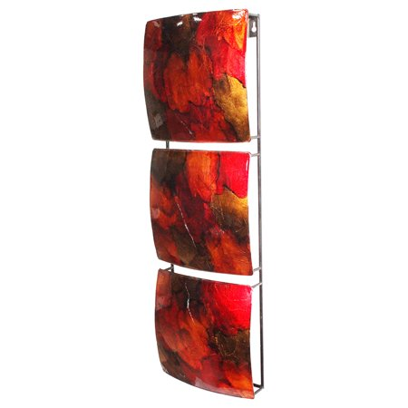 Vertical 3-Panel Metal Wall Decor - Copper, Red And Gold Lacquered ()