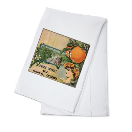Riverside Oranges - Riverside, California - Citrus Crate Label (100% Cotton Kitchen Towel) (California Orange Crate Label)
