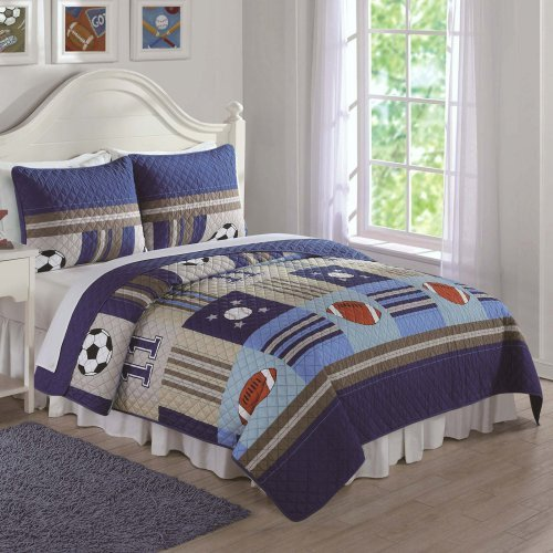My World Denim and Khaki Sports Quilt Set