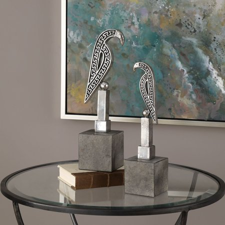 Uttermost Navya Silver Bird Sculptures - Set of 2
