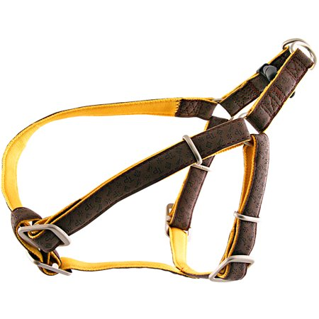 Brown and Gold Faux Leather Step-In Harness Closeout