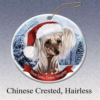 Holiday Pet Gifts Chinese Crested, Hairless Santa Hat Dog Porcelain Christmas Tree Ornament