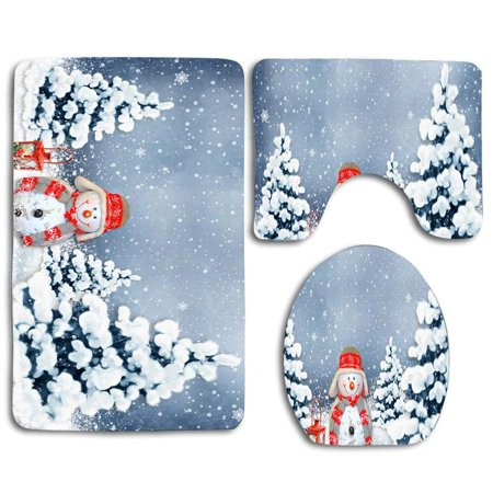 PUDMAD Well-behaved Christmas Snowman 3 Piece Bathroom Rugs Set Bath Rug Contour Mat and Toilet Lid Cover