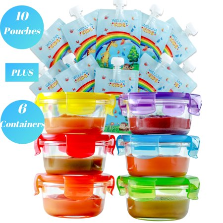 Glass Baby Food Storage Containers & Food Pouches - Set of 6 Baby Food Containers (6 Oz) and 10 Reusable Food Pouches (7 Oz), BPA FREE, Freezer, Microwave Dishwasher Safe, Baby Shower Gifts Girls
