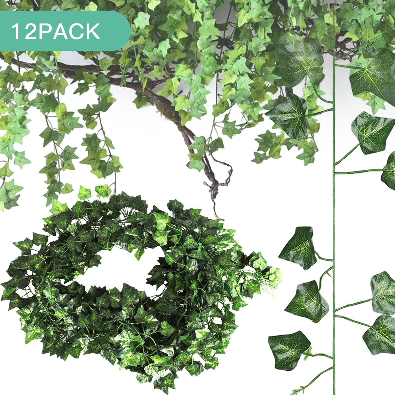 Eeekit 86 5 Ft 12pcs Individual Strands Fake Ivy Leaves Artificial Ivy Garland Greenery Decor Faux Green Hanging Plant Vine For Wall Party Wedding Room Home Kitchen Indoor Outdoor Decoration Walmart Com
