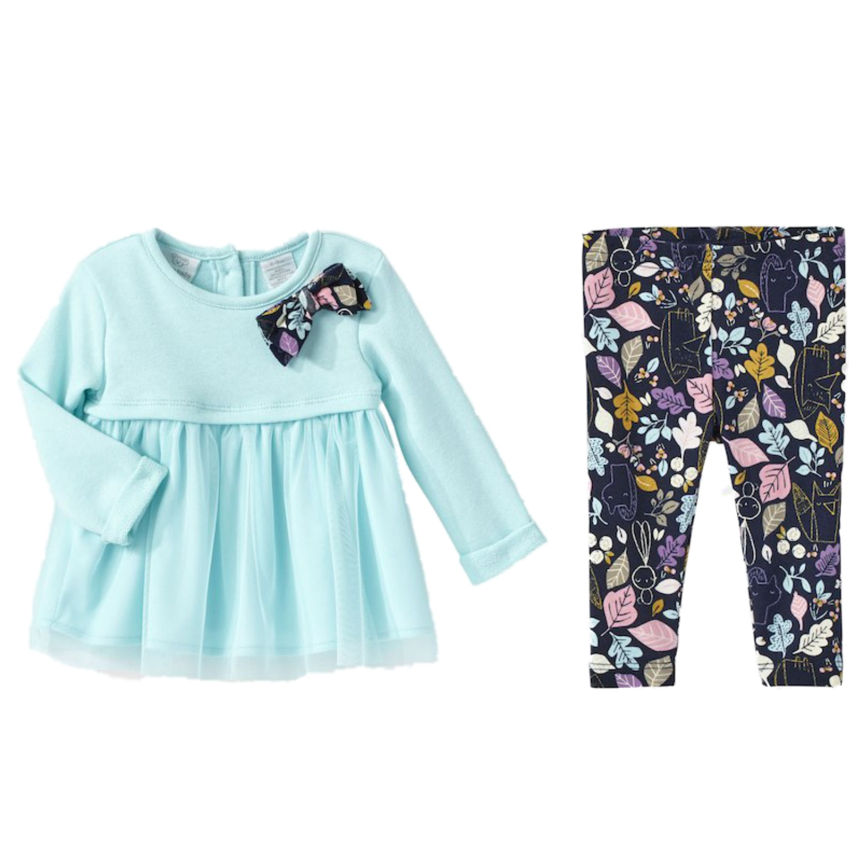 Infant Girls Blue Bow & Leaf Baby Outfit Shirt & Leggings Set