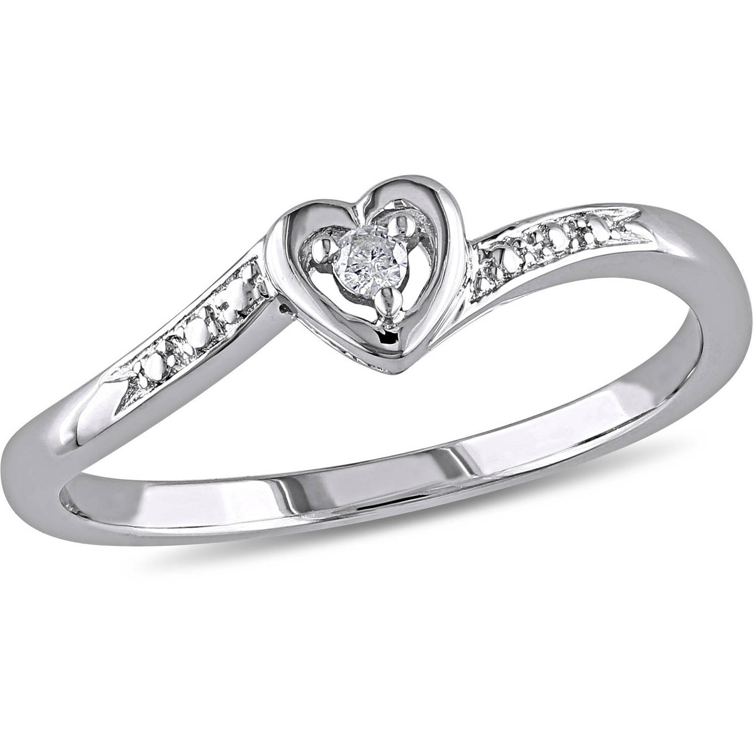 Miabella Diamond Accent Sterling Silver Heart Shaped Promise Ring