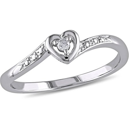 Heart Shaped Diamond Promise Rings (Diamond Accent Sterling Silver Heart-Shaped Promise)