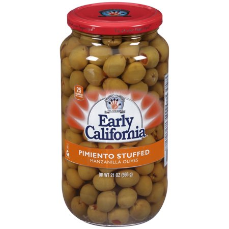 (2 pack) Early California Pimiento Stuffed Manzanilla Olives 21 oz. Jar (Manzanilla Stuffed Olives)
