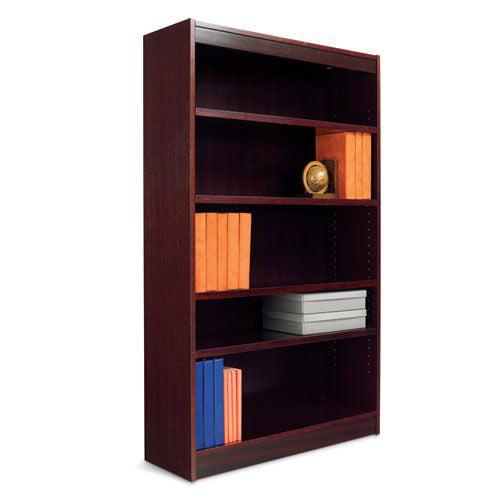 Alera Radius Corner Wood Veneer Bookcase, 6-Shelf, 35-3/8...