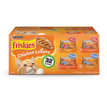 Friskies Gravy Wet Cat Food Variety Pack, Chicken Lovers Prime Filets & Shreds - (32) 5.5 oz.