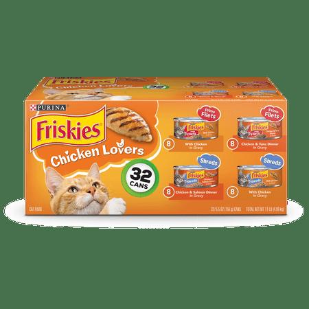 Friskies Gravy Wet Cat Food Variety Pack, Chicken Lovers Prime Filets & Shreds - (32) 5.5 oz.