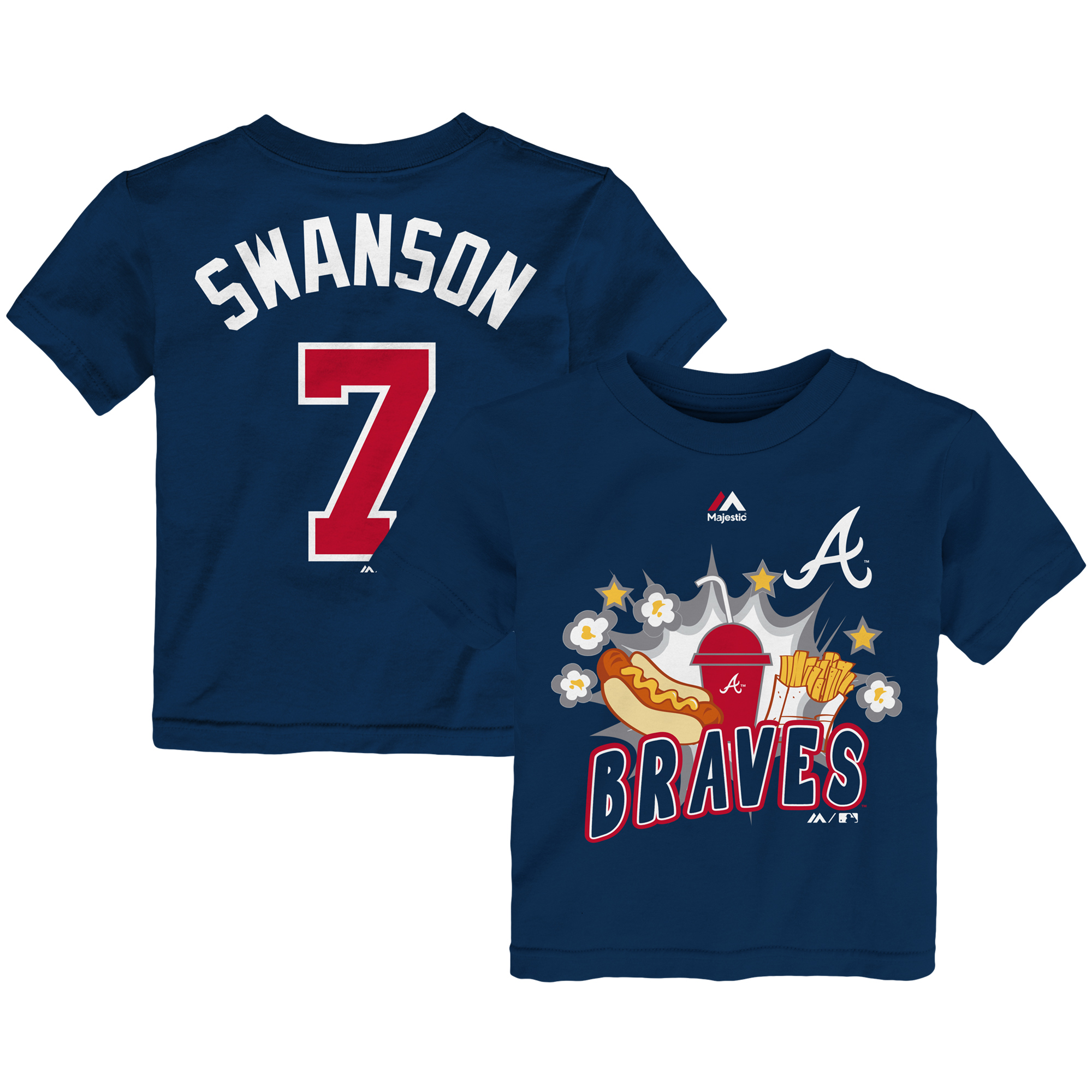 Dansby Swanson Atlanta Braves Majestic Toddler Snack Attack Name & Number T-Shirt - Navy