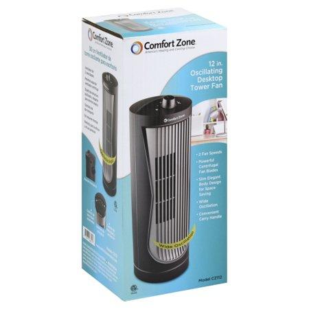 Comfort Zone 12 Quot Oscillating Desktop Tower Fan Walmart Com