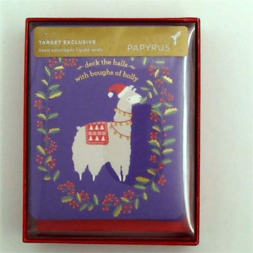12ct Papyrus-Prelude Llama Holiday Boxed Cards
