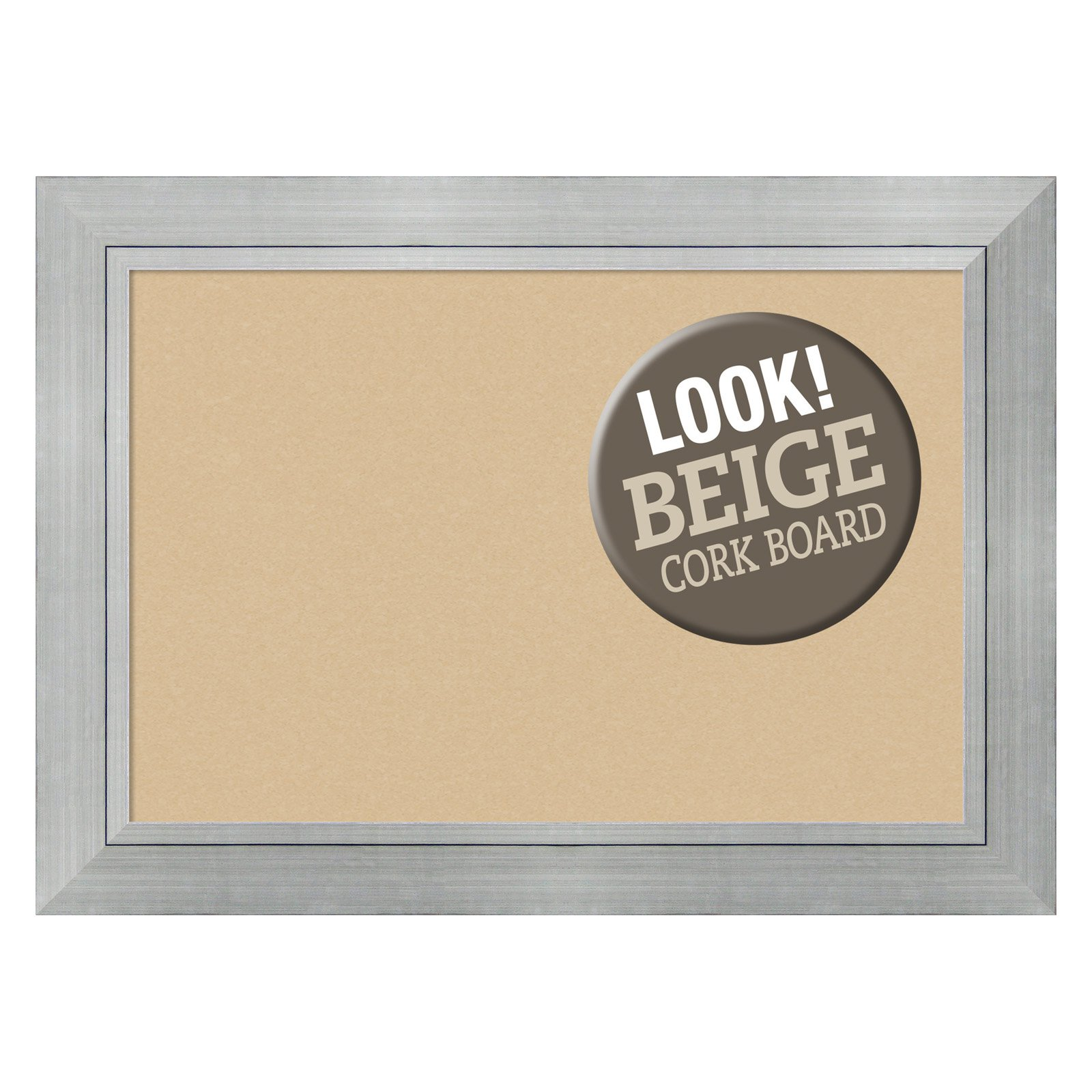Amanti Art Romano Silver Framed Cork Board