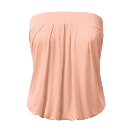 3af69d5447 Doublju - Doublju Women s Sleeveless Off-Shoulder Tube Top LIGHTPINK 3XL -  Walmart.com