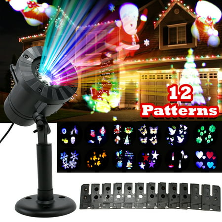 12 Pattern Christmas lights Projector LED Snowflakes Xmas Landscape Lamp, 2017 Version, Bright Indoor Outdoor Waterproof Lighting for Halloween, Christmas, Holiday, Party, Birthday, Garden - Indoor Halloween Decorations