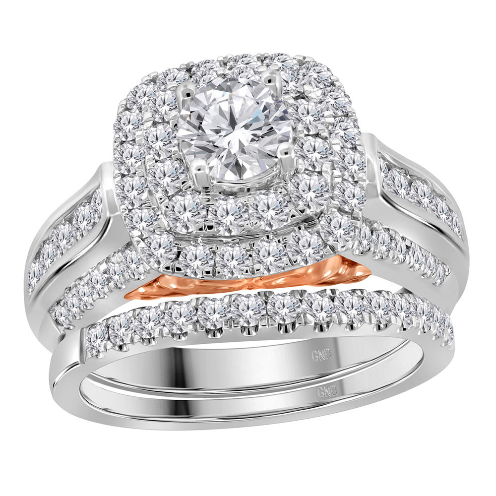 14kt White Gold Womens Round Diamond Bellissimo Bridal Wedding Engagement Ring Band Set 5 8 Cttw by CoutureJewelers