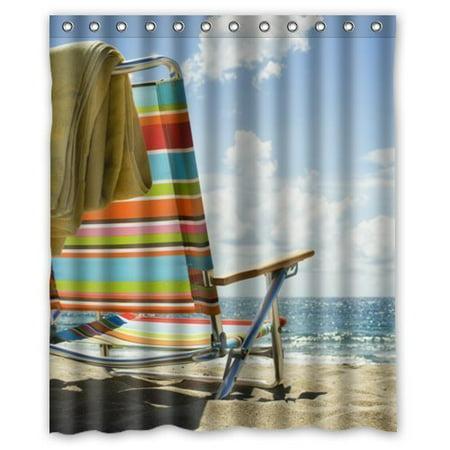 HelloDecor Beach Chair Shower Curtain Polyester Fabric Bathroom Decorative Size 60x72 Inches