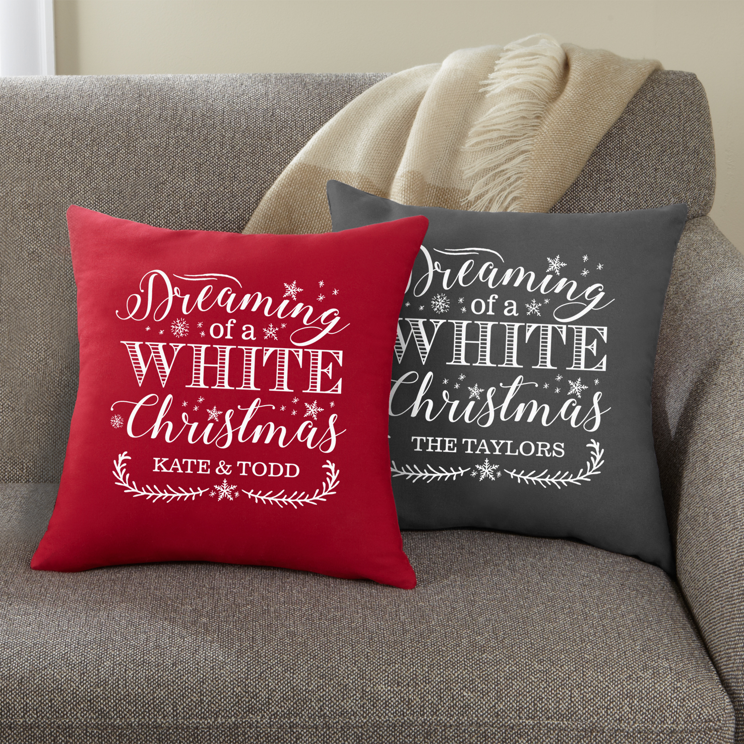 Personalized Personalized Dreaming of a White Christmas Throw Pillow - Red
