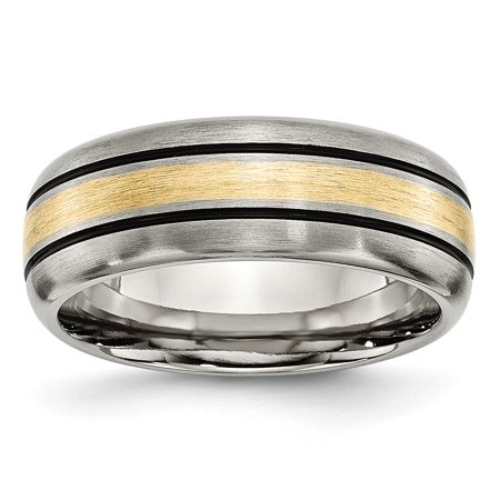 Titanium Grooved 14k Yellow Inlay 8mm Brushed Wedding Ring Band Size 9.00 Precious Metal Fine Jewelry For Women Gifts For Her - image 1 de 10