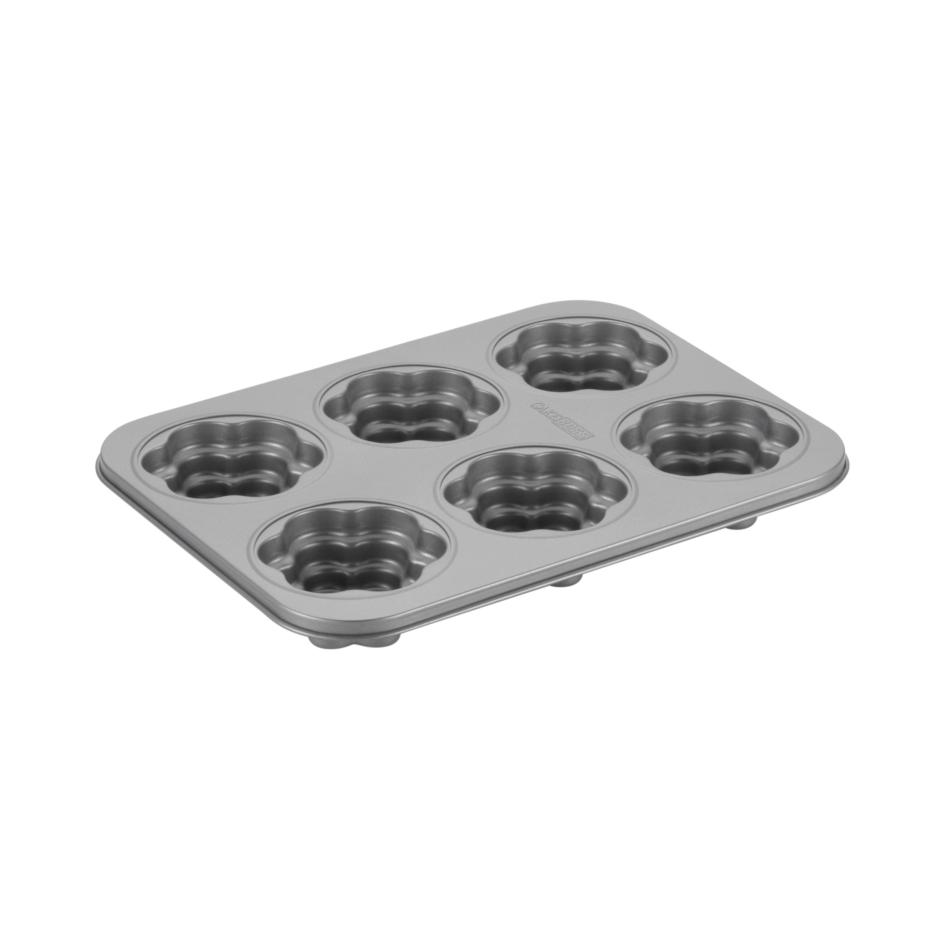 Cake Boss Novelty Bakeware 6 - Cup Nonstick Flower Cakelette Pan, Gray