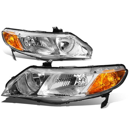 For 06 to 11 Honda Civic 4-Dr Sedan Pair Chrome Housing Amber Corner Headlight Headlamps 07 08 09 10 - Honda Passport Headlight Headlamp