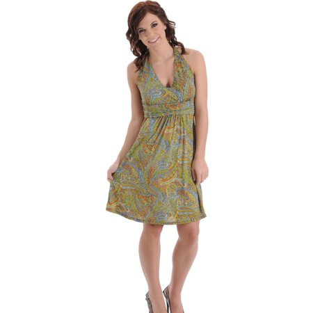 Halter Paisley Print Womens Vintage Inspired Dress with Beaded Coil Accents Sizes: (Beading Halter Floor)