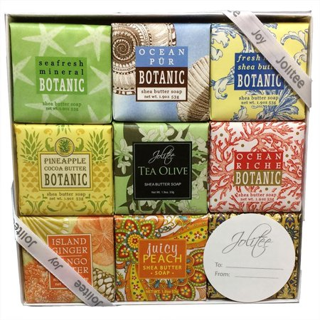 French Milled Botanical Soap Sampler Set in Nine Fabulous Scents, Individually Wrapped Vegetable Based Mini Soaps with Essential Oils, Shea Butter and Natural Extracts (Tropical Beachy)