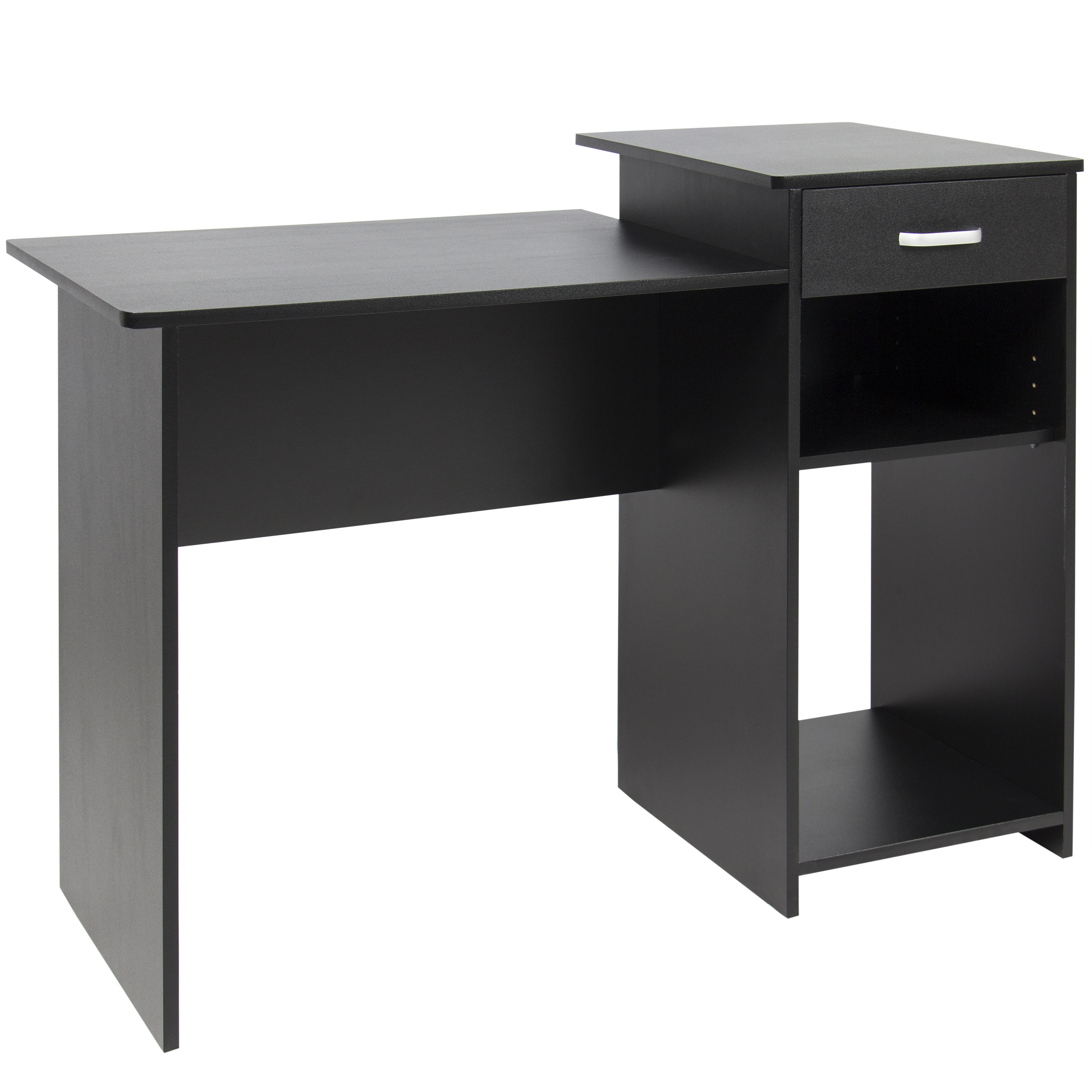 Best Choice Products Wood Computer Desk Workstation Table For Home, Office,  Dorm W/ Drawer, Adjustable Shelf   Black   Walmart.com