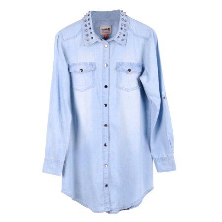 Women Long Sleeve Button Jean Denim Blouse Shirt w/ Rivet Collar, M