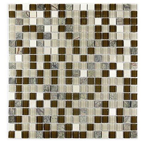"Image of Crystal Stone 0.63"" x 0.63"" Glass Mosaic Tile in Glazed Forest Walk"