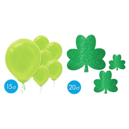 Holiday Party Supplies and Party Supply Decorations Amscan St Patricks Day Glitter Shamrock Mega Value Pack Cutouts (20pc Set) and Amscan Kiwi Green Solid Color 12 inch Latex Balloons (15pc Set) (Shamrock Balloons)