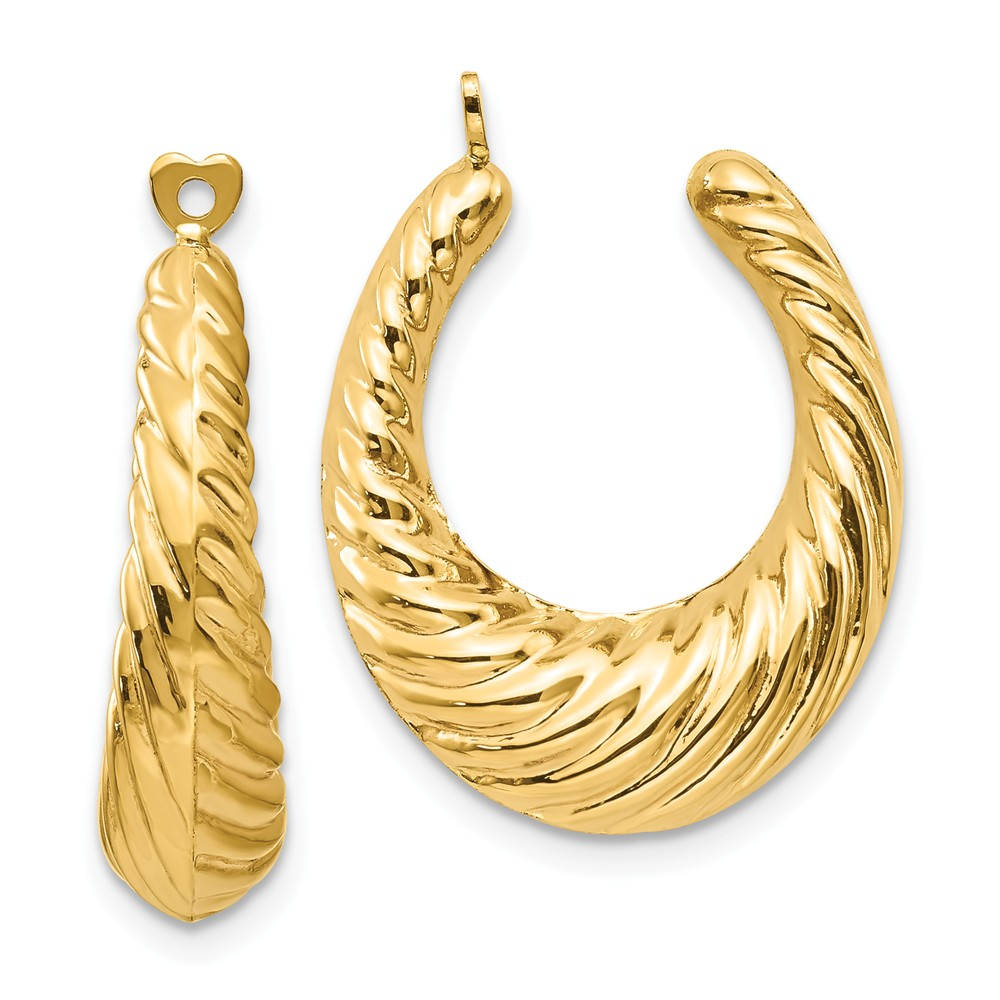 14k Yellow Gold 0.9IN Long Polished Twisted Hollow Hoop Earrings Jackets