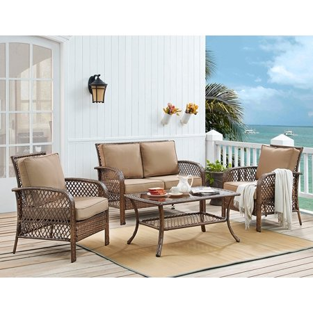 Deep Seating Furniture (Ulax Furniture 4 Piece Outdoor Patio Deep Seating Group with Cushion, Rattan Wicker Furniture Sofa Set (Beige) )