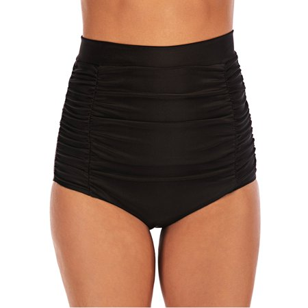 Brief Swim Bottom (Women's Solid Swim Bikini Bottom High Waist Ruched Swim Trunks Comfy Swim Brief Swimwear)