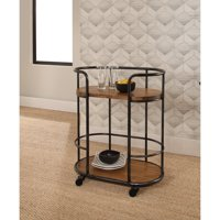 Abbyson Brent Industrial Wood and Iron Bar Cart