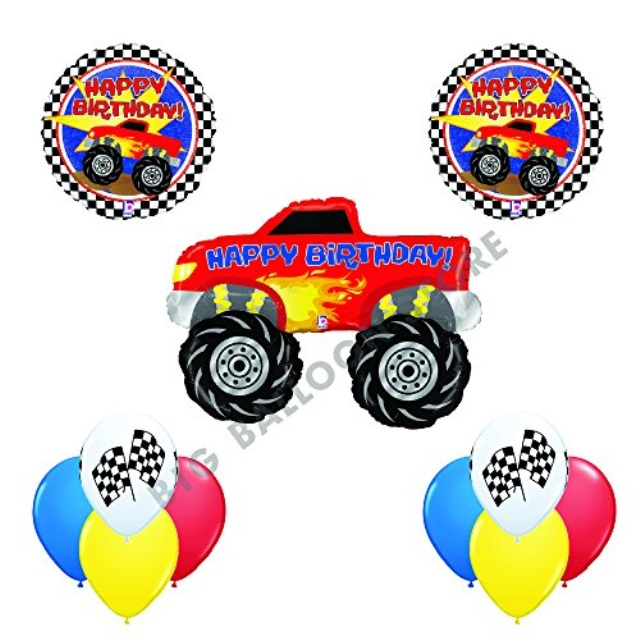 Ultimate 11 pc Monster Truck Happy Birthday Balloon Decoration kit