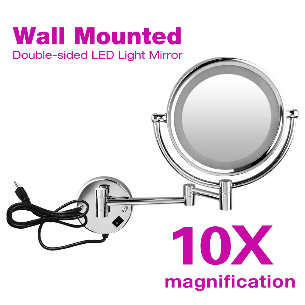 Excelvan Wall Mounted LED Double Side Swivel Lighted Wall Mount Makeup Mirror 8 inch 10x Magnification Mirror