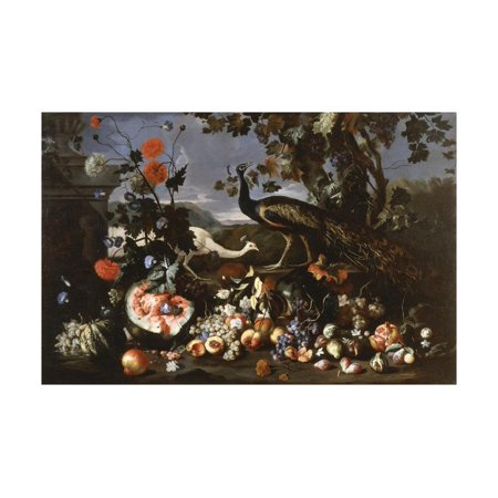A Peacock and a Penhen with Fruit and Flowers in a Park Print Wall Art By Franz Werner Tamm