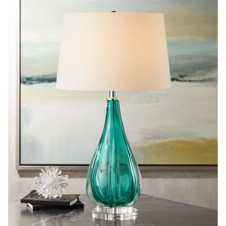 Possini Euro Design Modern Table Lamp Turquoise Glass Wave Pattern Tapered White Drum Shade for Living Room Family Bedroom Bedside ()