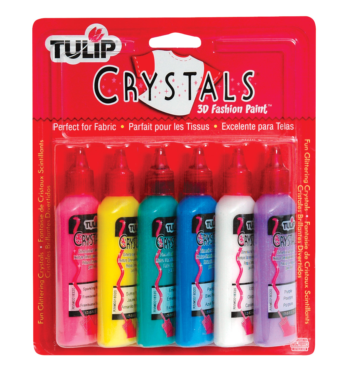 Tulip Washable 3D Fabric Paint Set, 1.25 oz Bottle, Assorted Crystal Color, Set of 6