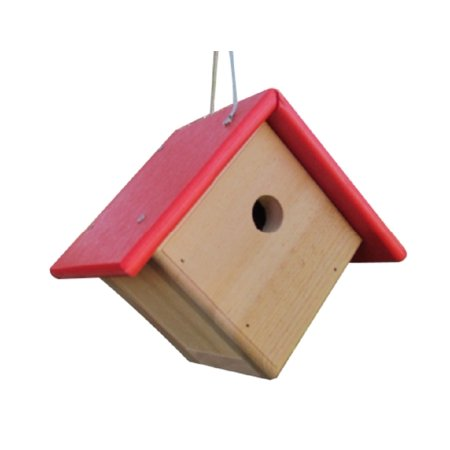 JCs Wildlife Cedar & Poly Wren, Chickadee, & Warbler Birdhouse, Red Roof