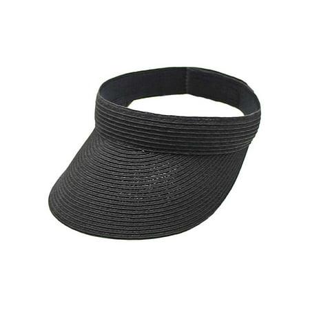 Black Adjustable Paper Braid Womens Sun Visor ()