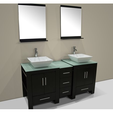 60 Double Ceramic Sink Bathroom Cabinet Solid Wood Vanity Glass Top W Mirror