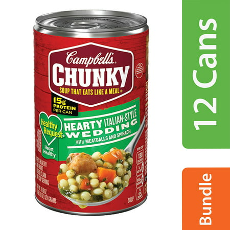 (11 Pack) Campbell's Chunky Healthy Request Hearty Italian-Style Wedding with Meatballs and Spinach Soup, 18.6 -