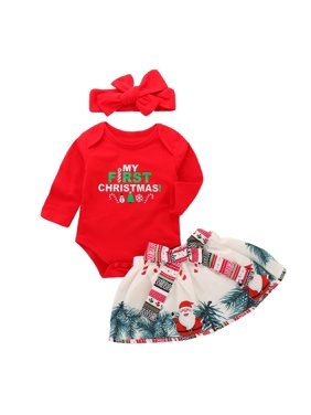 Baby Infant Girls Christmas Cute Pajamas Sets Jumpsuits Skirt Headband 3pcs Outfits fit for 0-18M